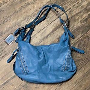 B Makowsky blue leather bag with stud detail NWOT